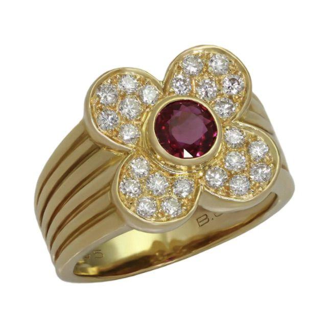 1stDibs Van Cleef & Arpels 4 Leaf Clover Genuine Ruby Diamond Yellow Gold Ring