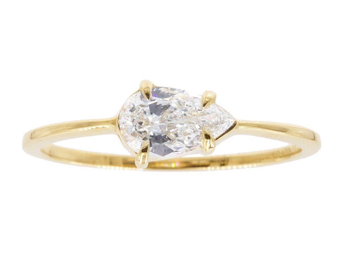 Gillian Conroy Pear White Diamond & 18k Yellow Gold Sophia Ring