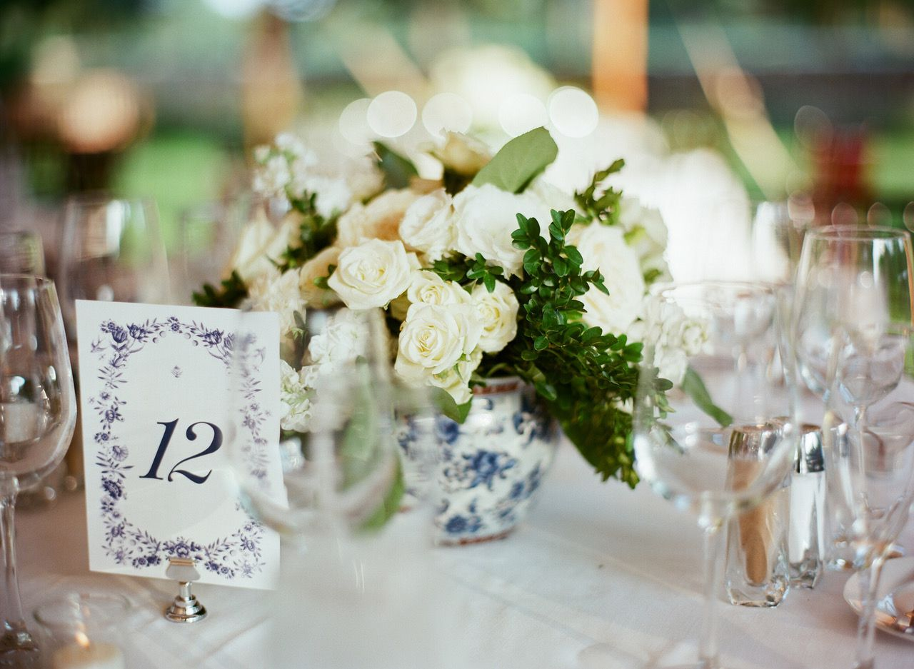 blue and white table number