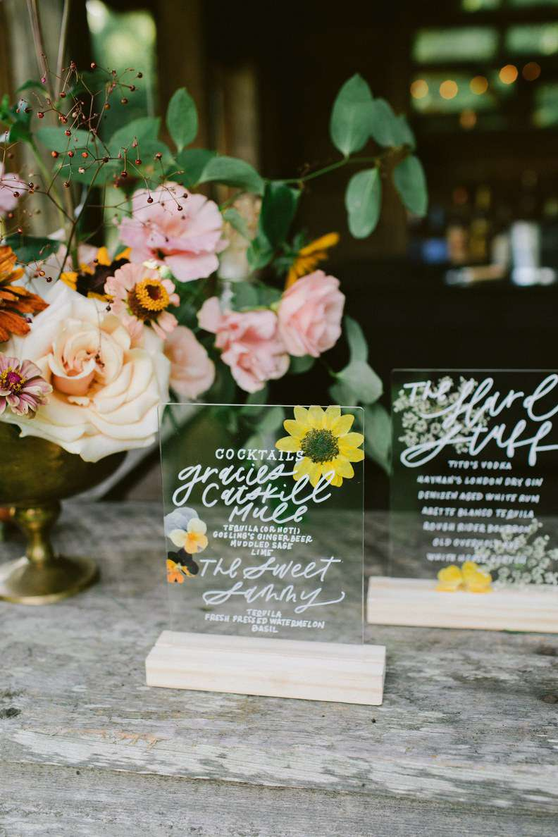Custom acrylic signature cocktail signs