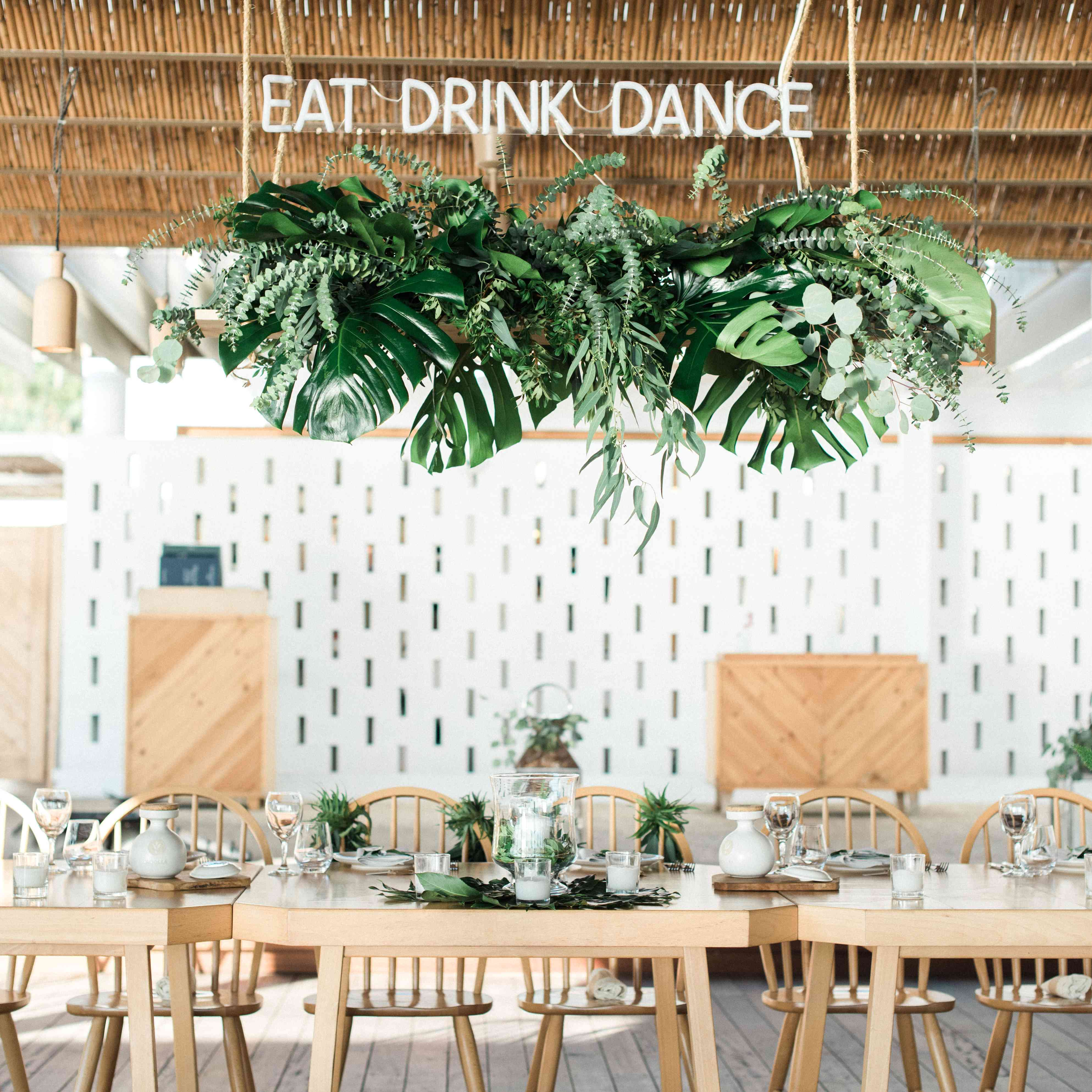 A hanging greenery installation with