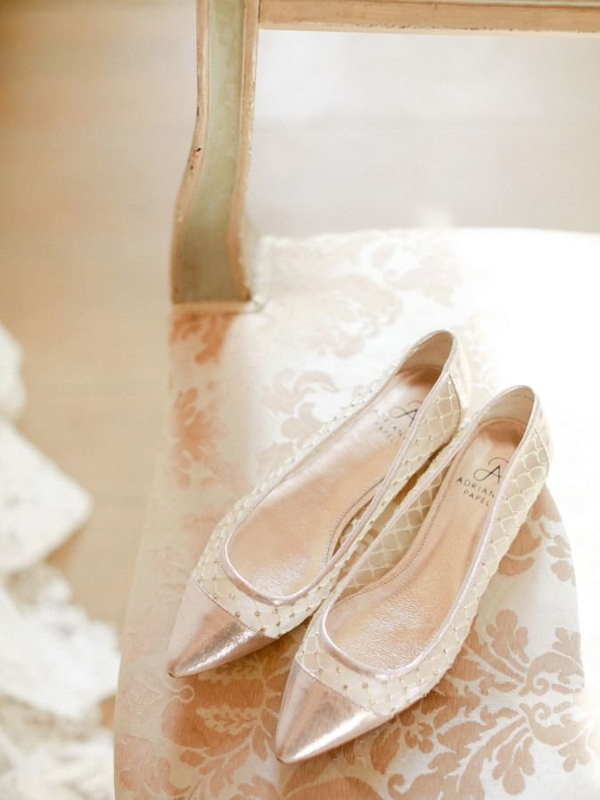 A pair of metallic pointed toe flats.
