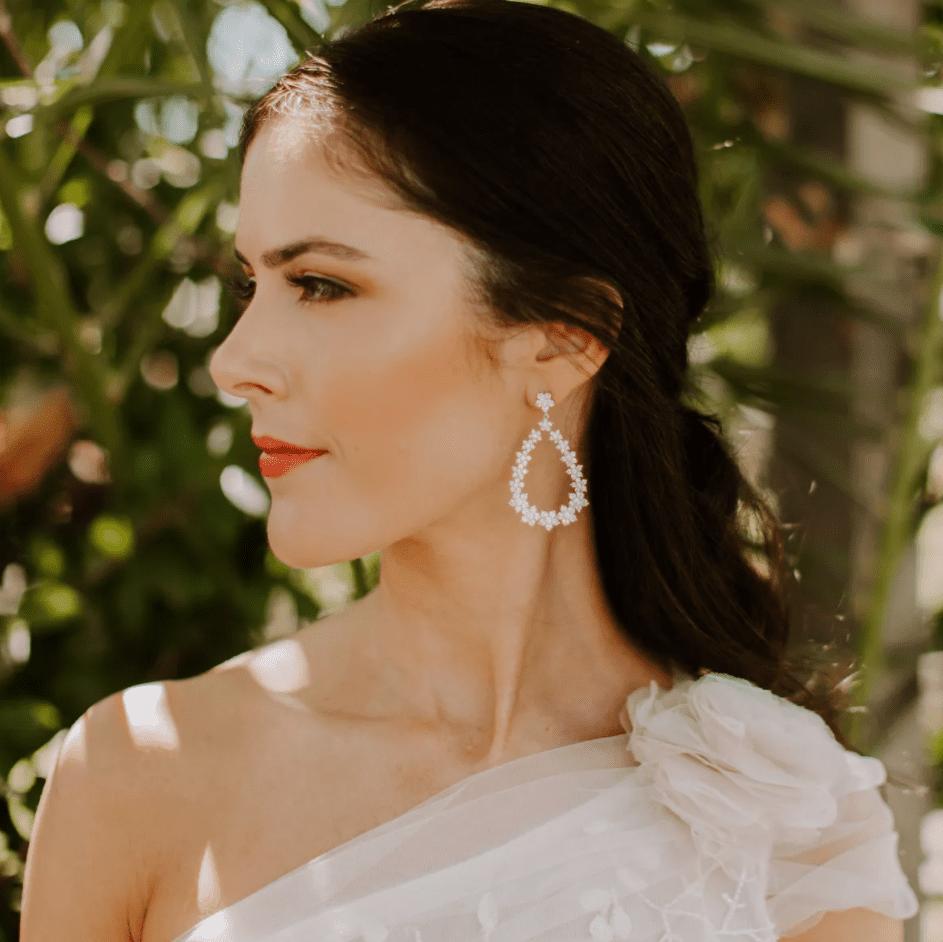 bride wearing half-up half-down hair