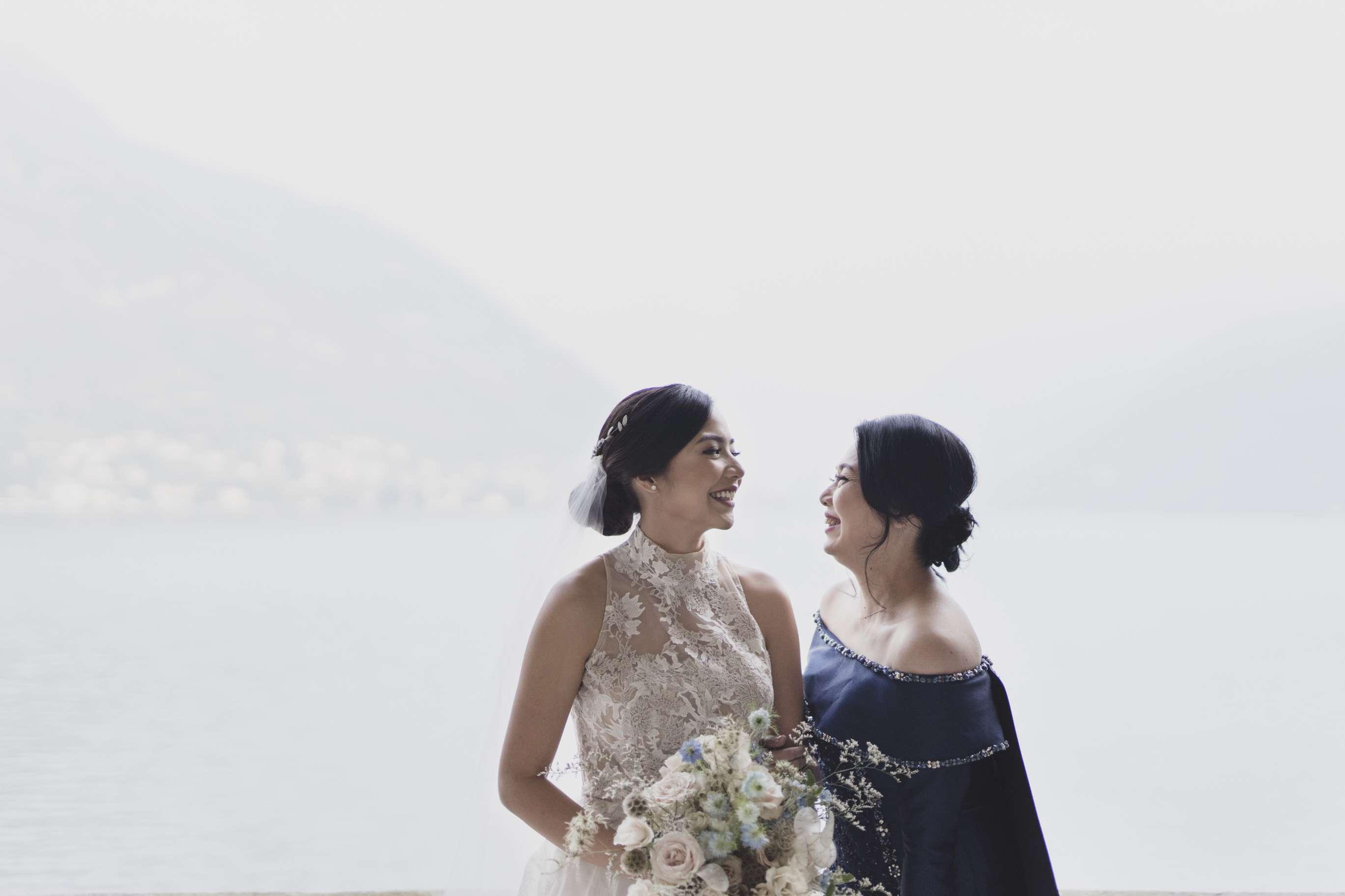 Mother daughter portrait in Lake Como
