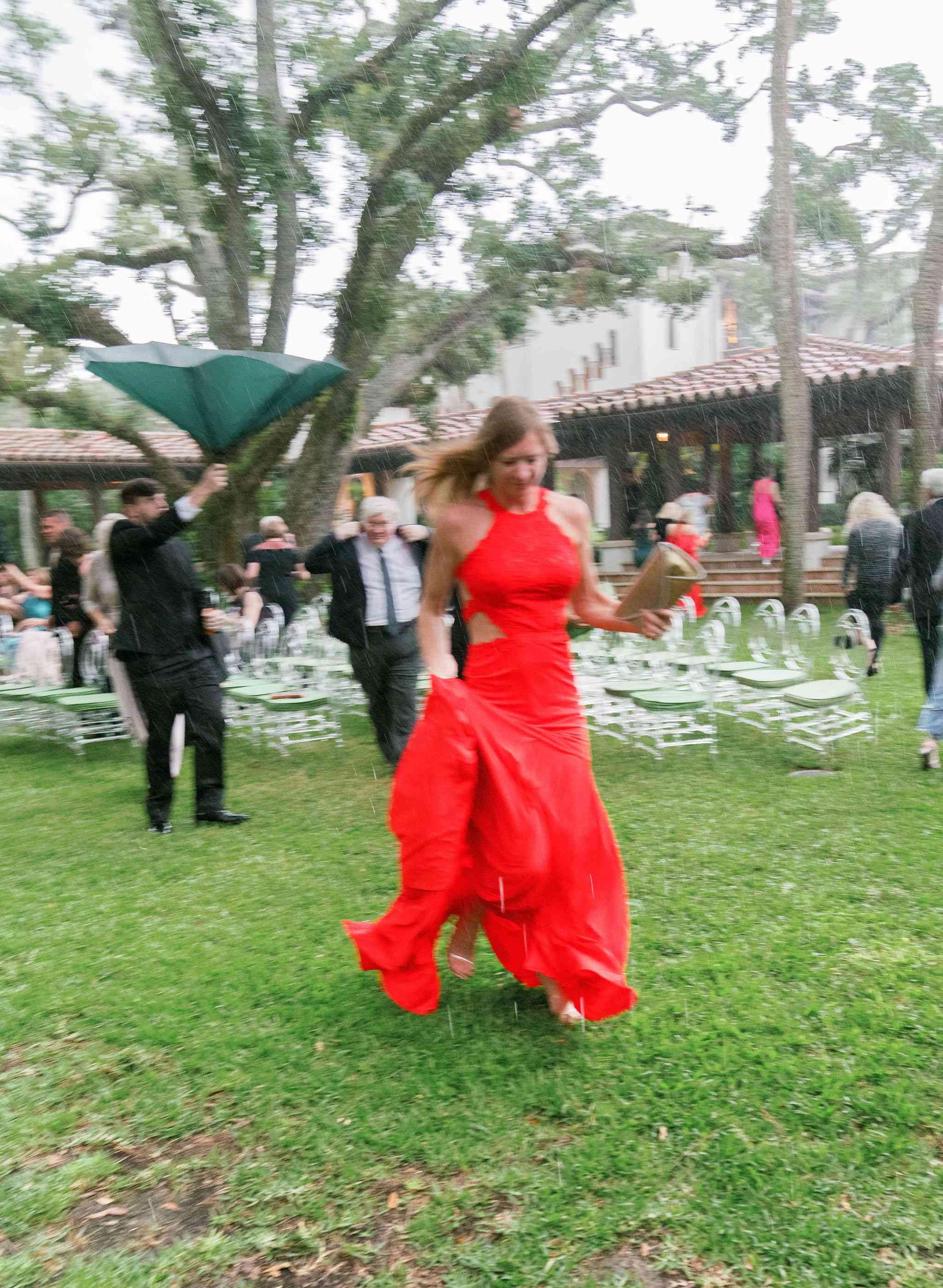guests in rain