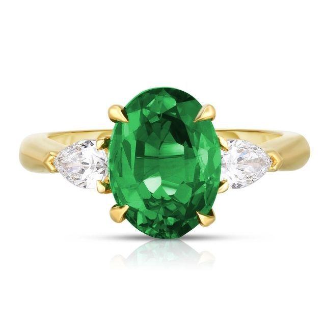 Marisa Perry by Douglas Elliott Oval cut Emerald Three Stone Ring with Pear Shape Diamonds