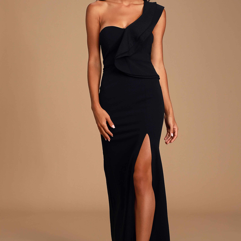 Black One-Shoulder Dress