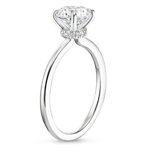 small hidden halo engagement ring