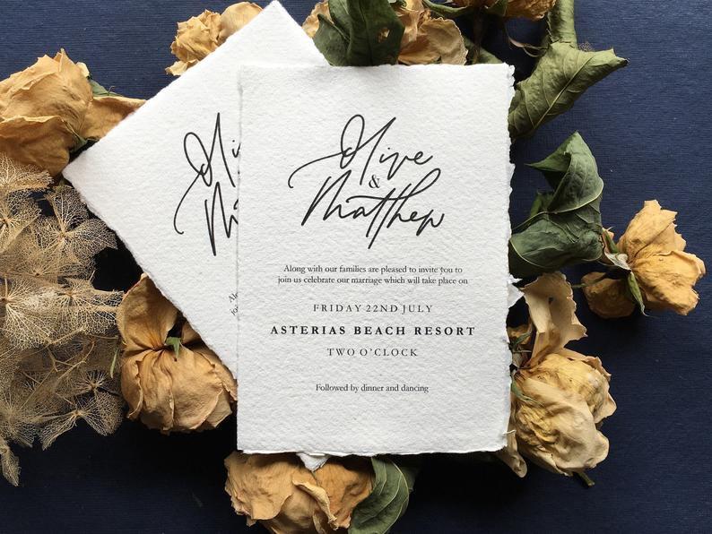 black and white wedding invitation suite