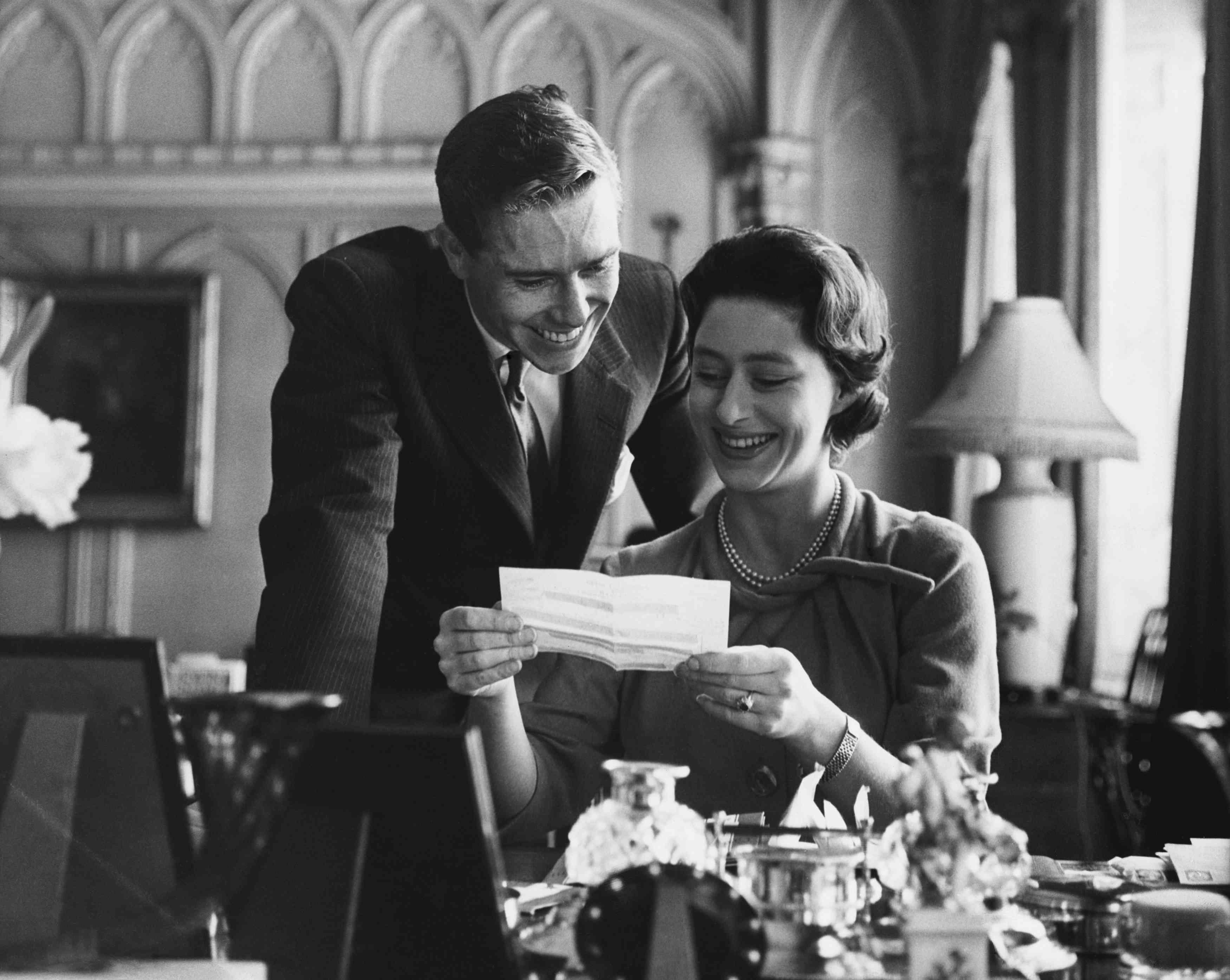 Princess Margaret reading a letter