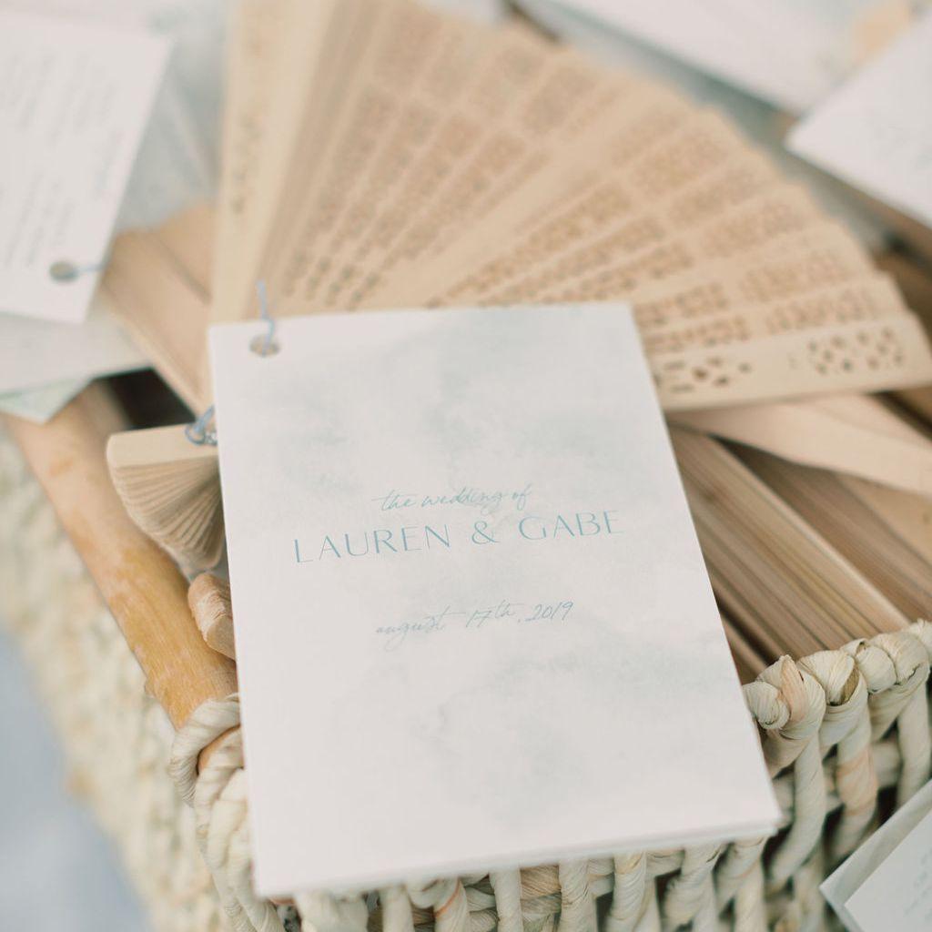 wooden wedding program fan