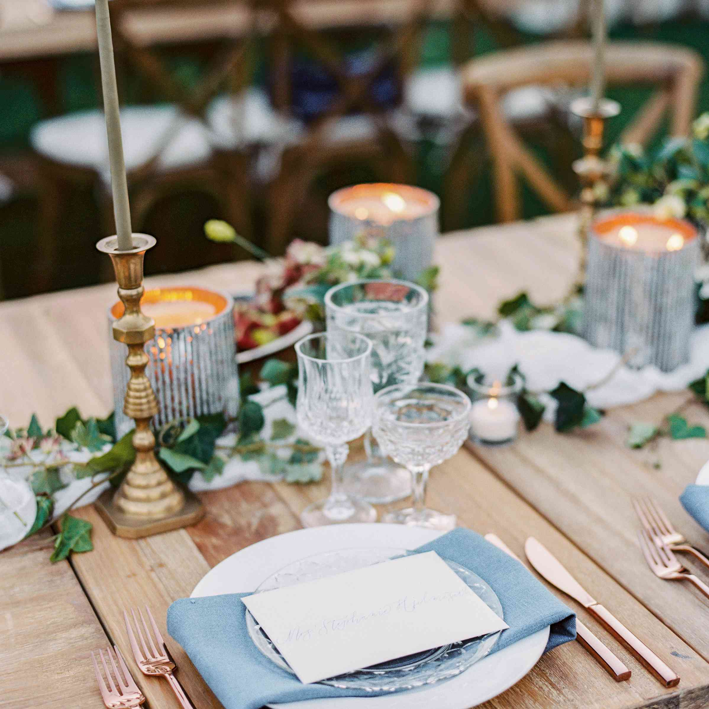 Blue and Copper Table Setting