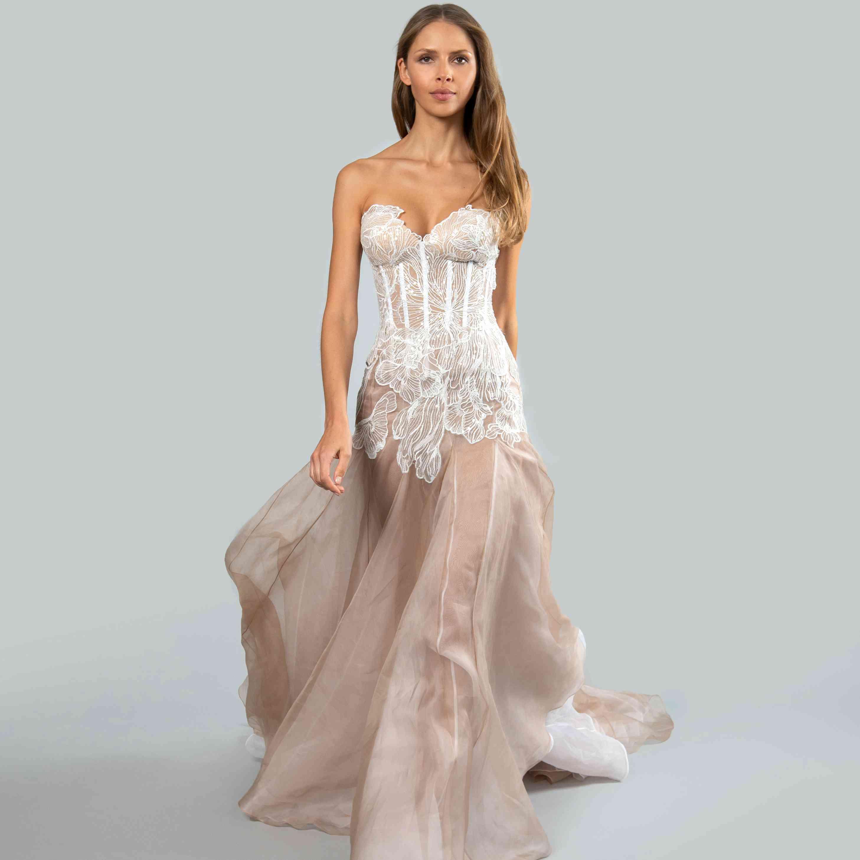 Model in strapless sweetheart corset wedding dress