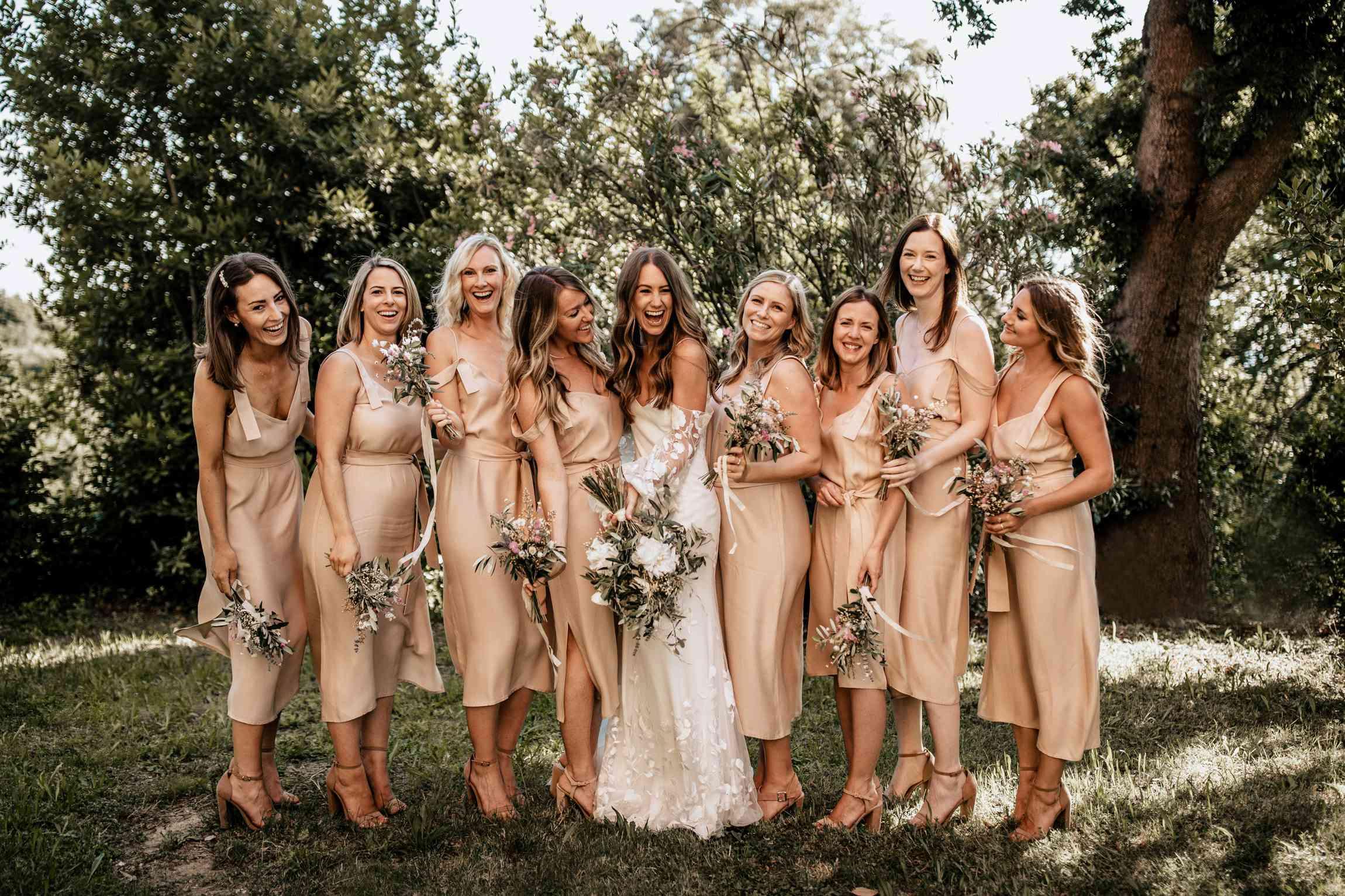 bridesmaids in slip dresses