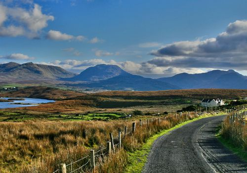 road in Ireland with rolling hills
