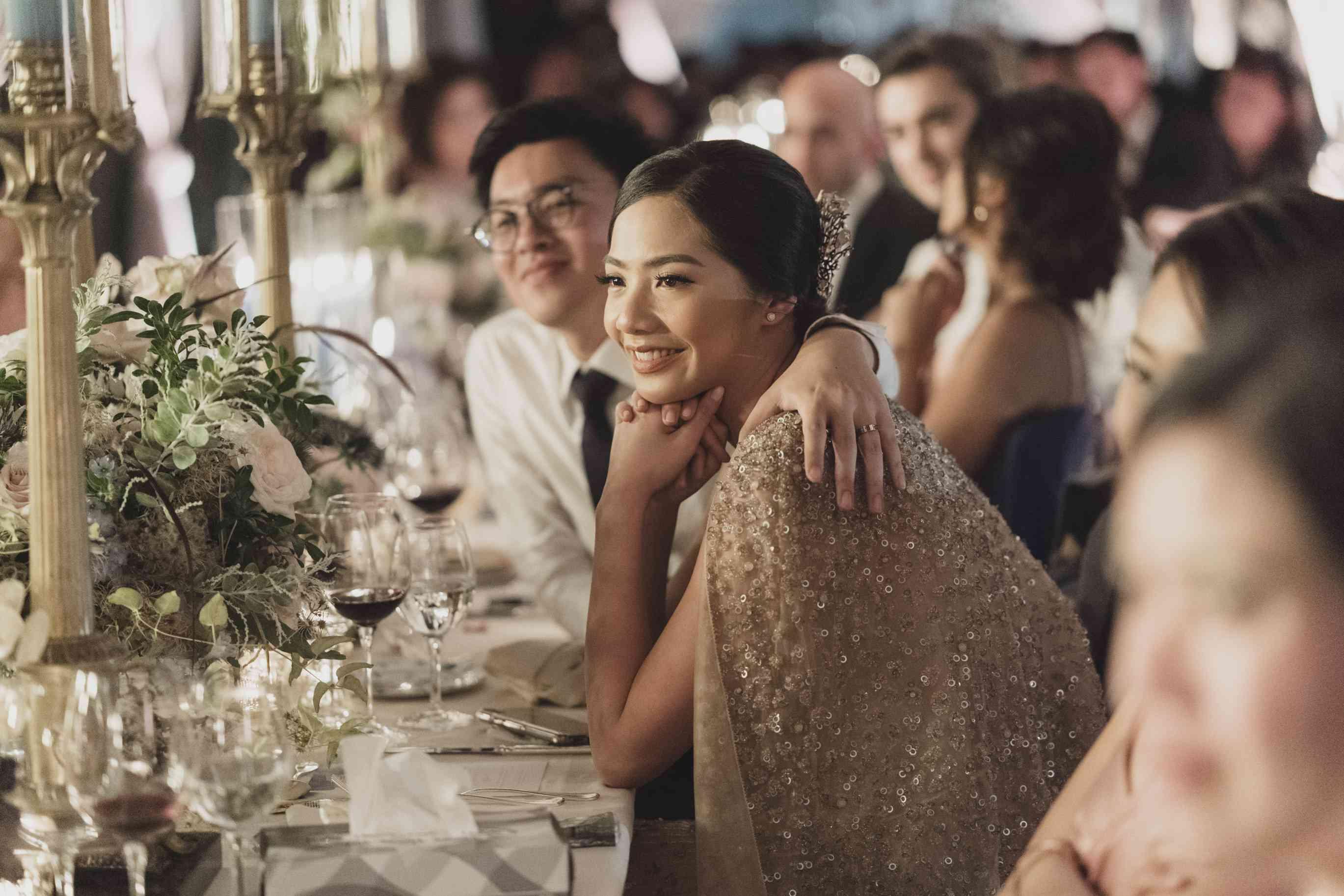 romantic lake como wedding, groom embracing bride reception