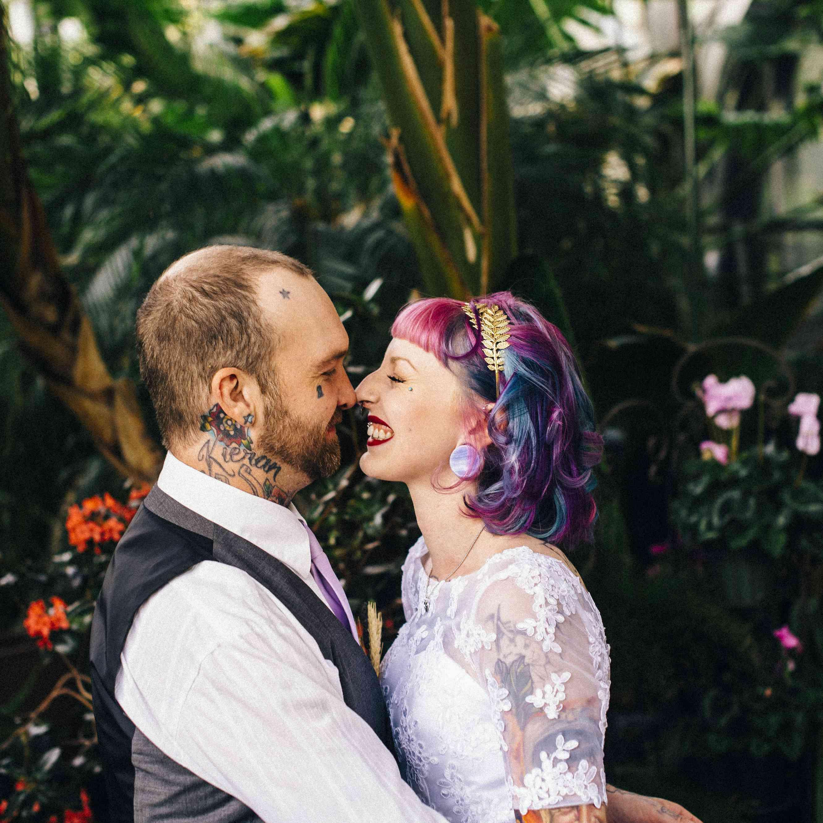 Bride with rainbow hair and groom
