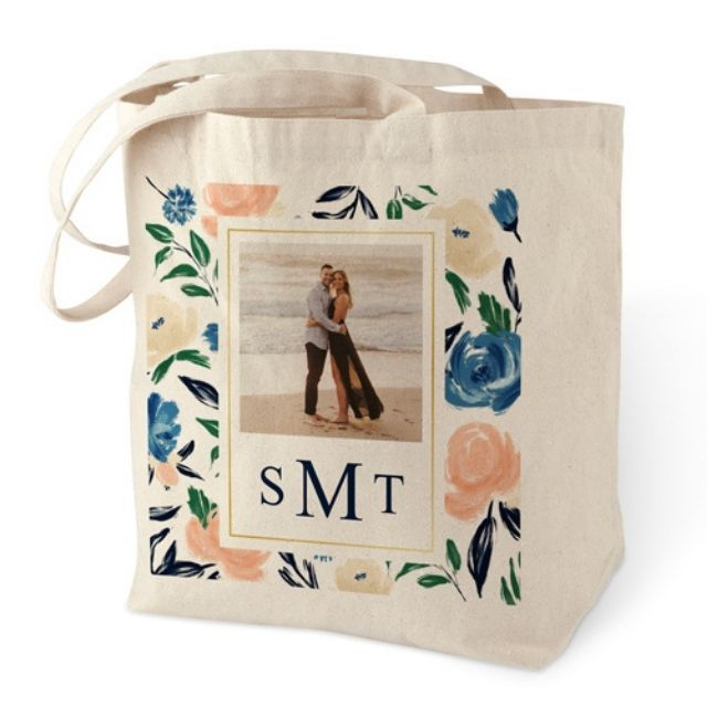 Shutterfly Watercolor Floral Frame Cotton Tote Bag