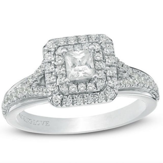 Vera Wang Love Collection 5/8 CT. T.W. Princess-Cut Diamond Double Frame Engagement Ring