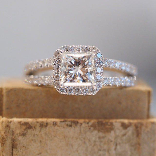 Designs by Kami Halo Princess Cut Engagement Ring