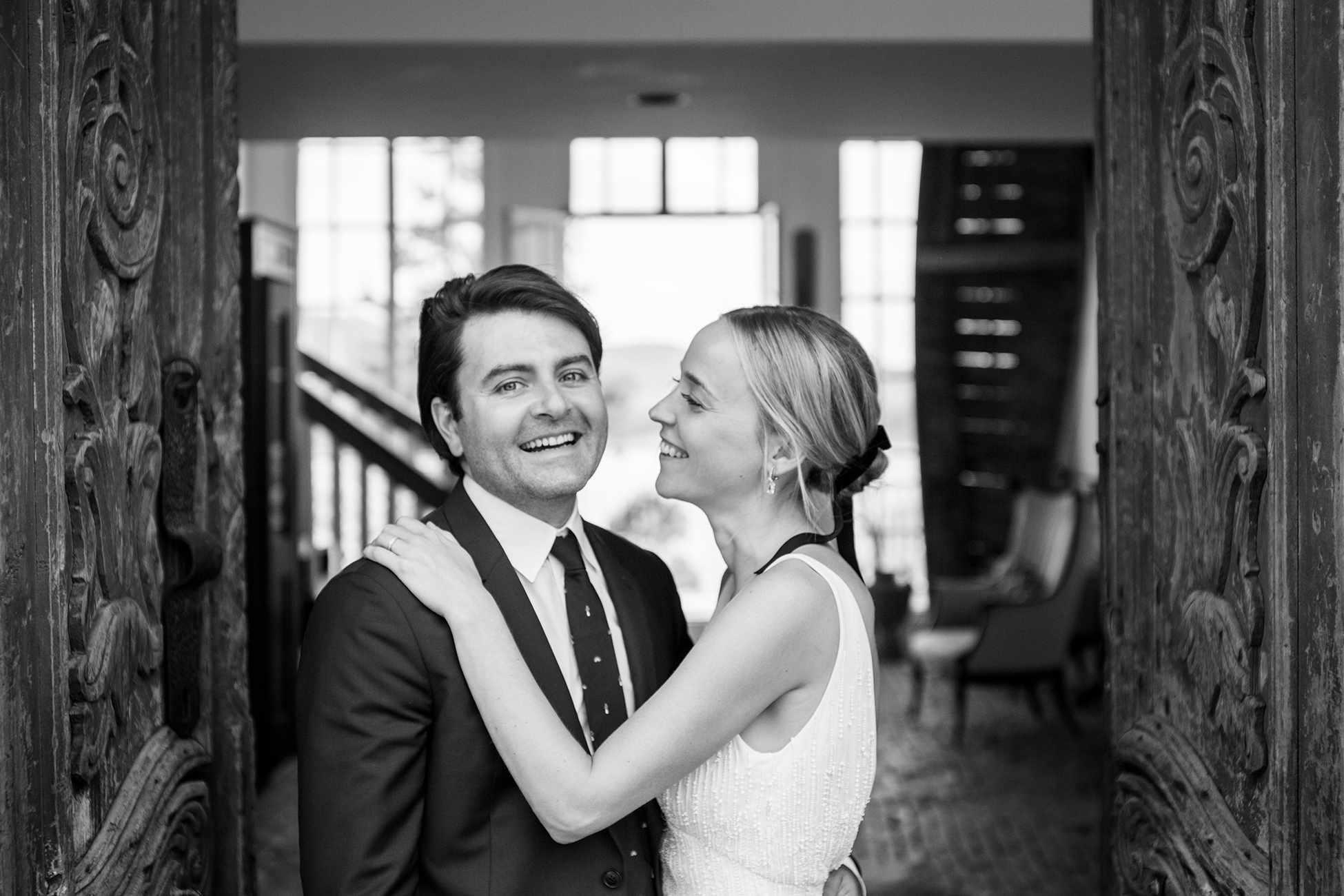 <p>bride looking at groom smiling happy</p><br><br>