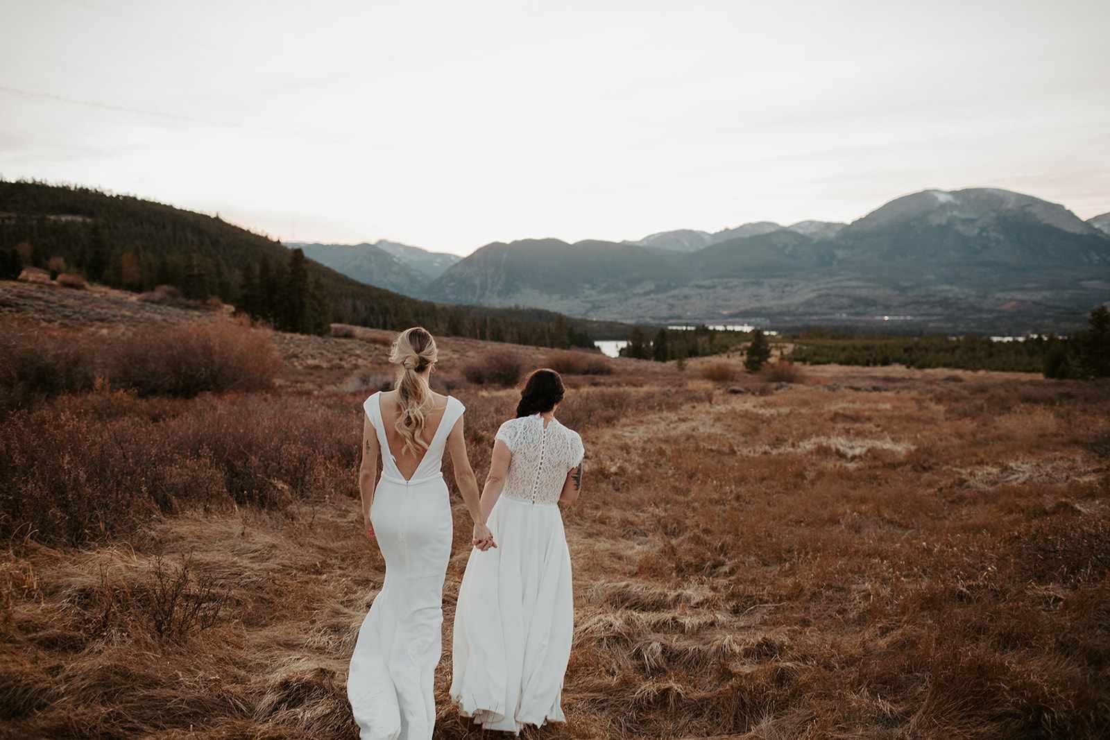 Brides walk towards ceremony