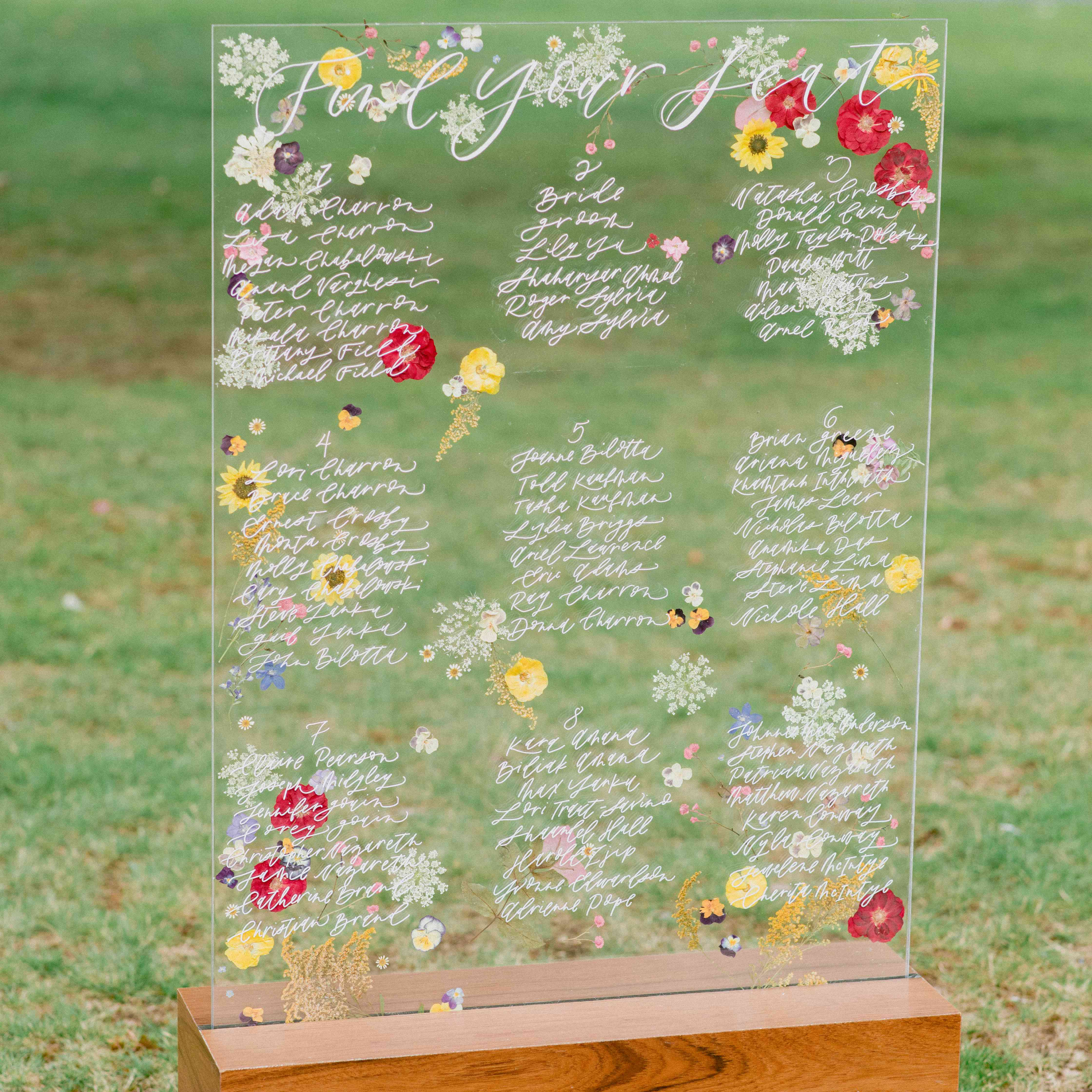 pressed flower seating chart