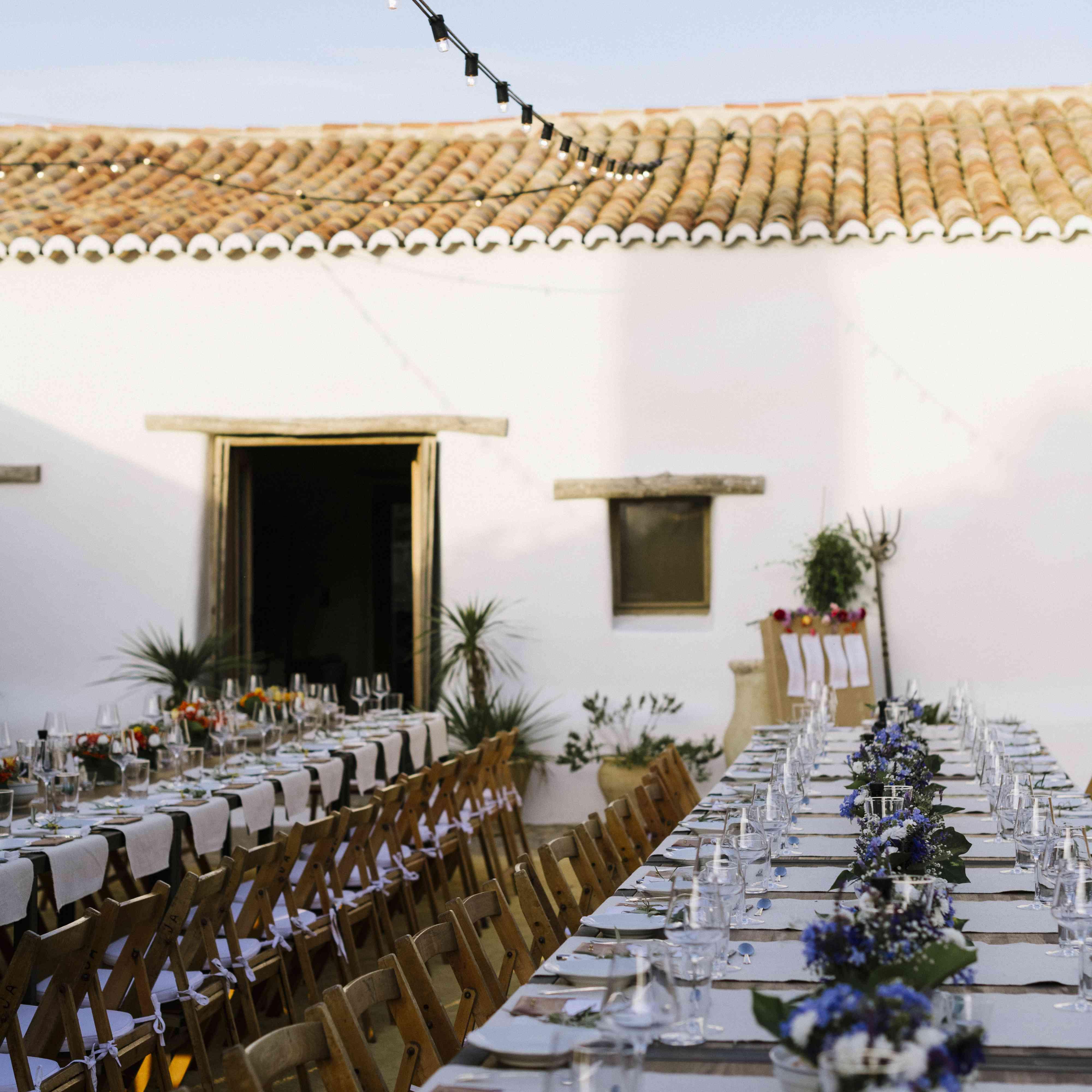 reception dinner long tables