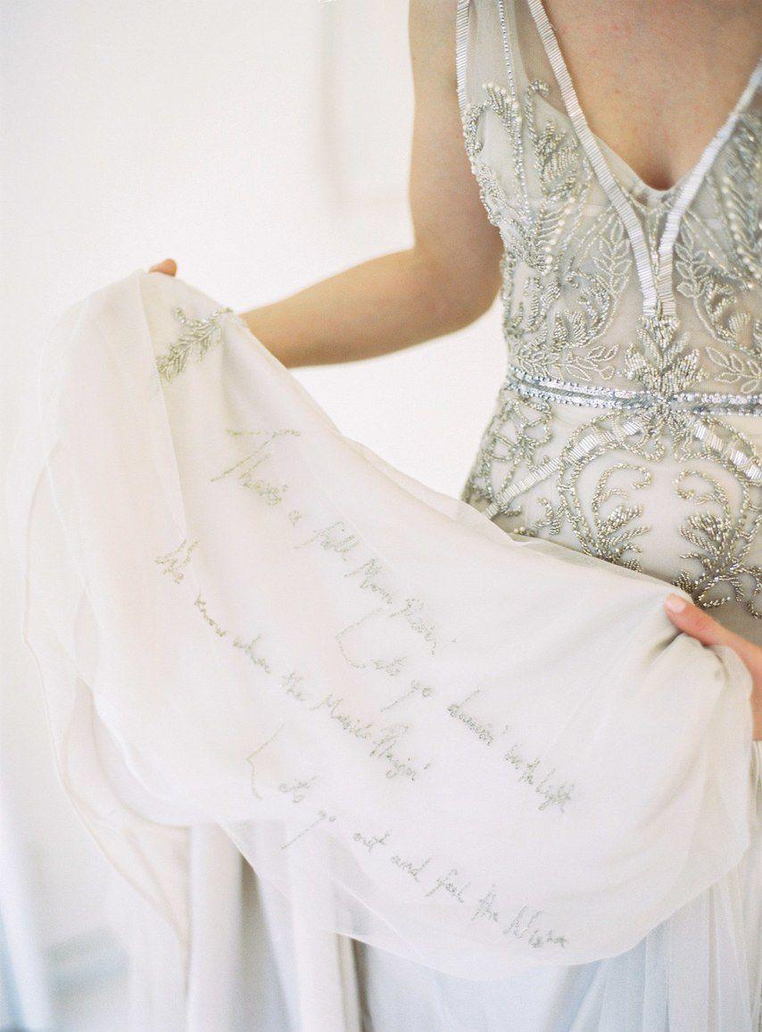 Embroidery on wedding dress