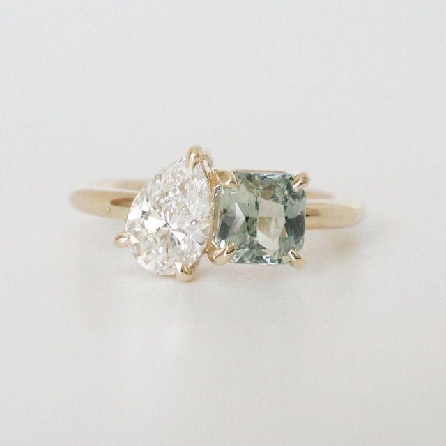 BrocktonGems Modern Moi Et Toi Engagement Ring