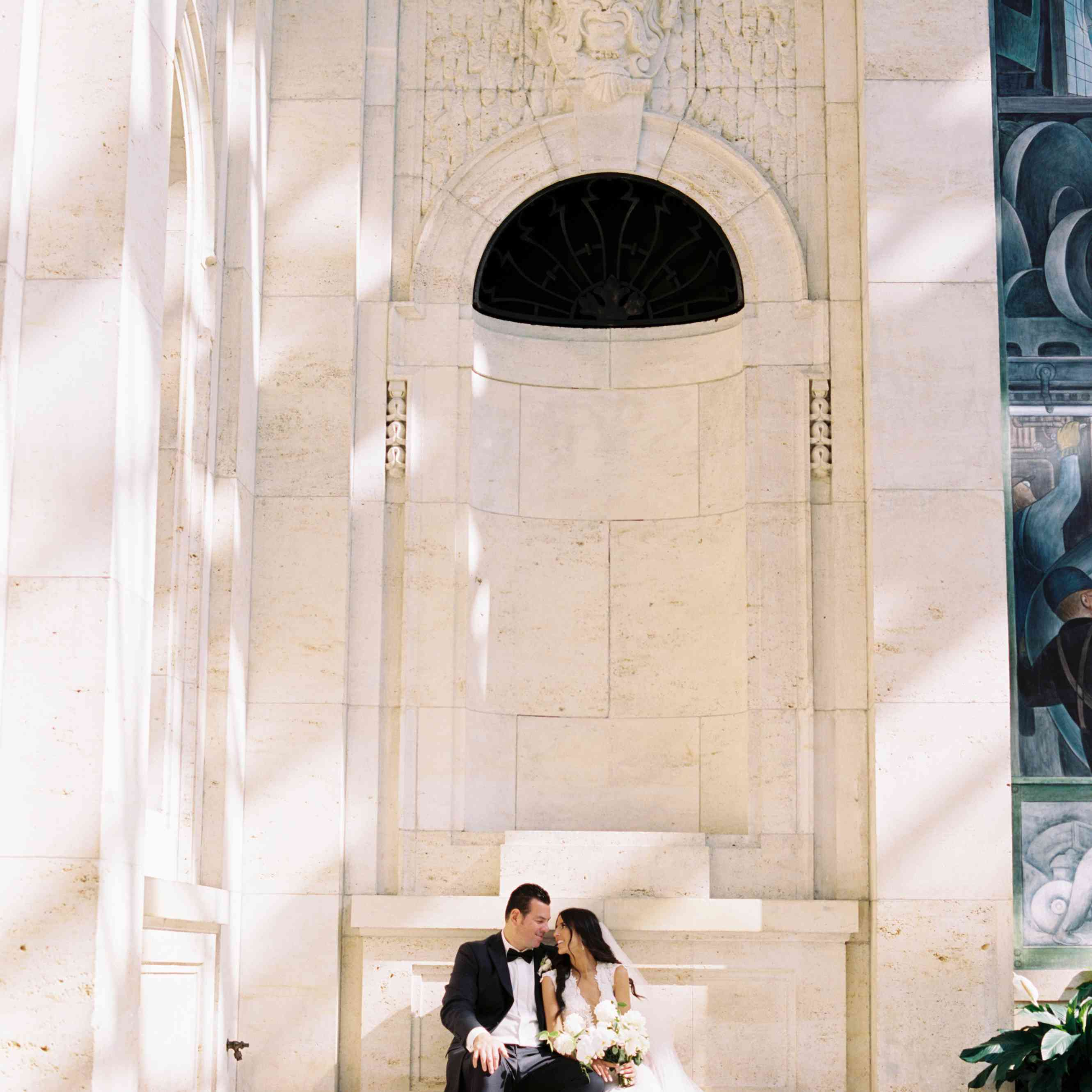 The newlyweds pose for portraits