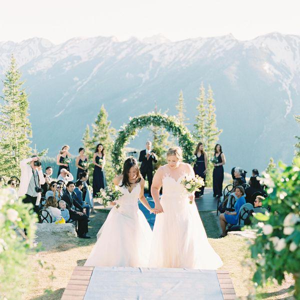 Brides during recessional