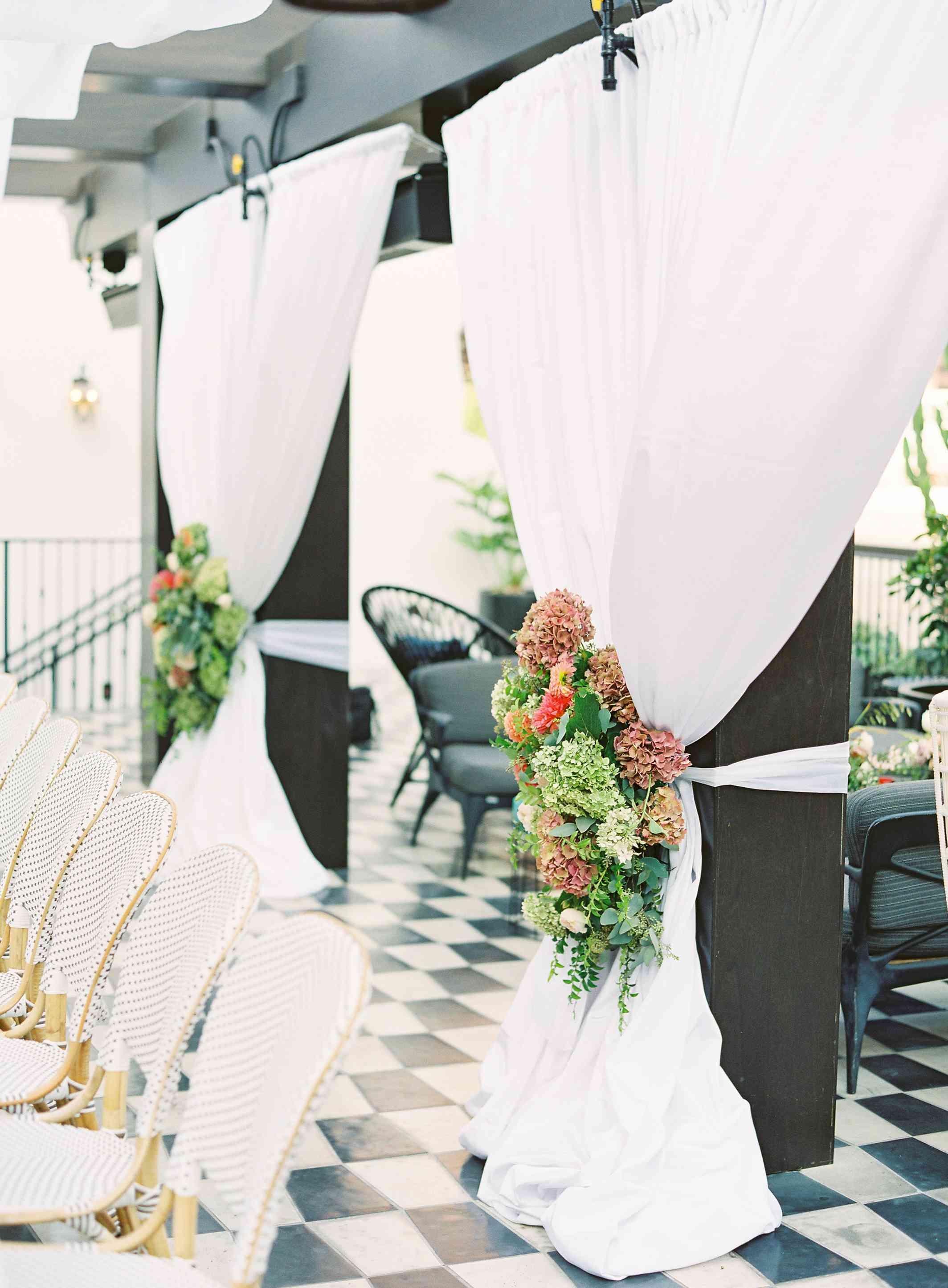 Fabric decorates reception venue
