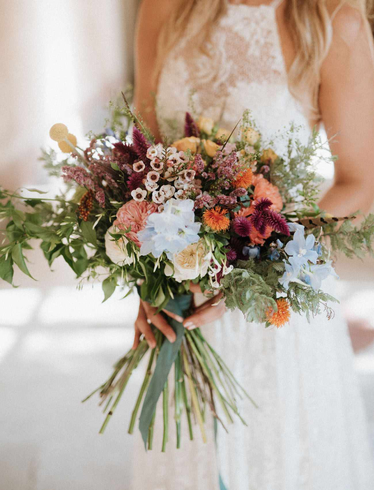 Wildflower bouquet with long stems