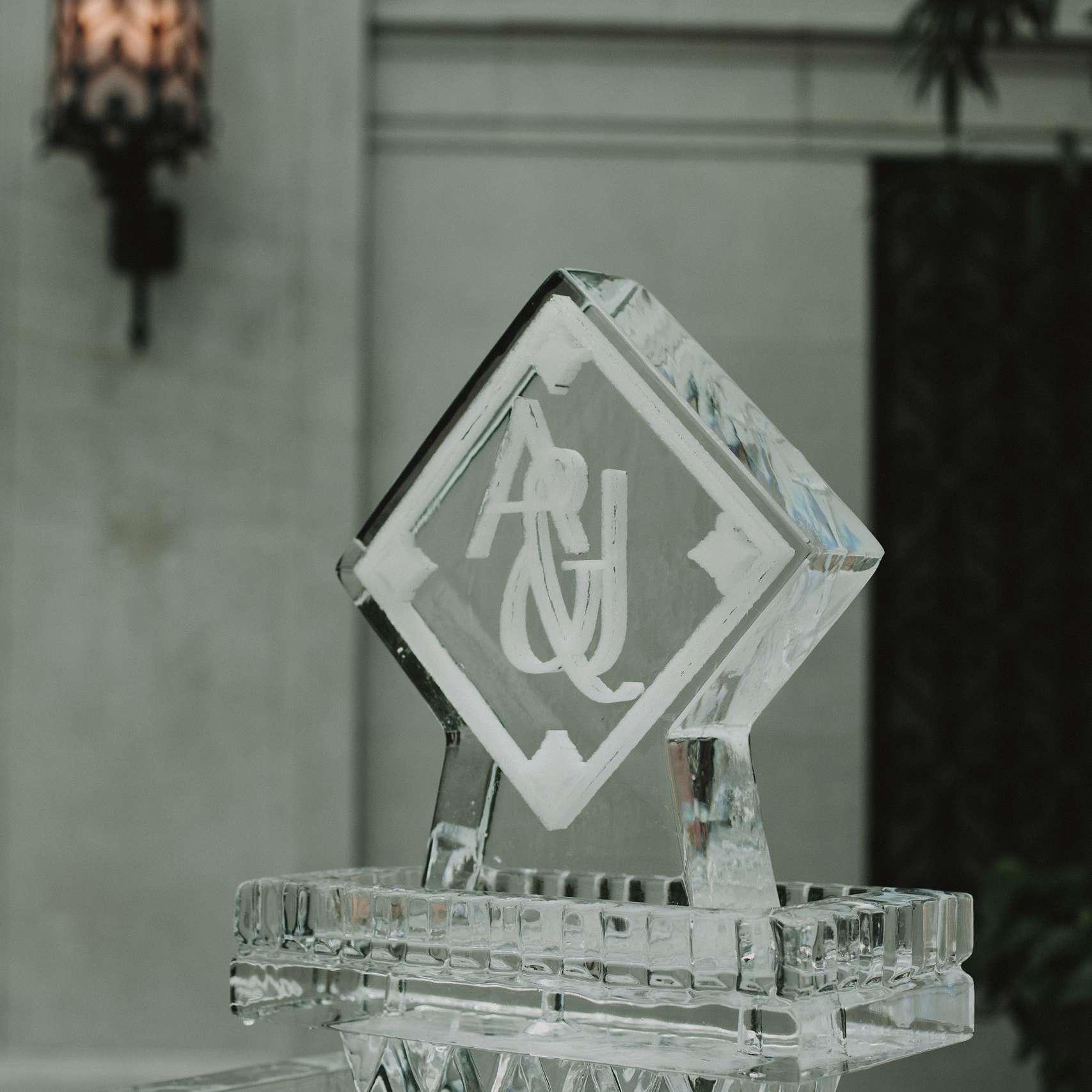 Ice sculpture at wedding reception