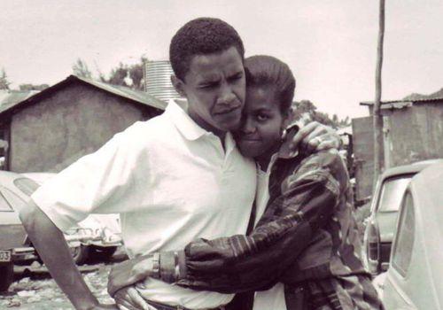 Michelle and Barack Obama in Kenya in 1992