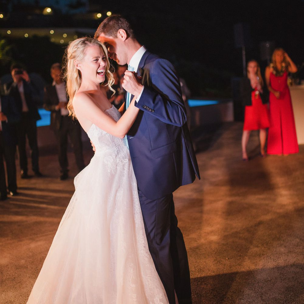 couple laughing first dance