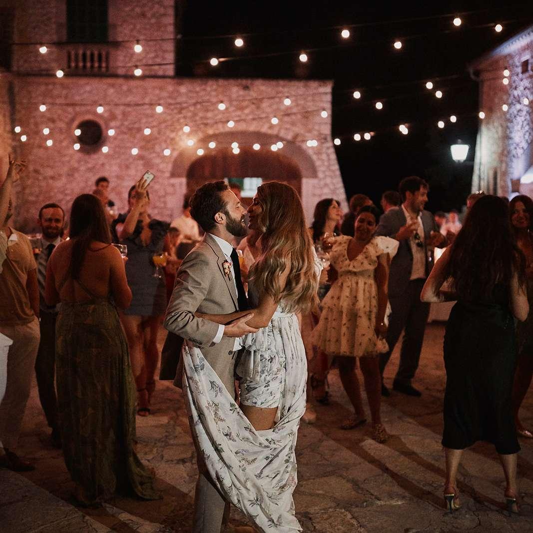 Couple dancing outside