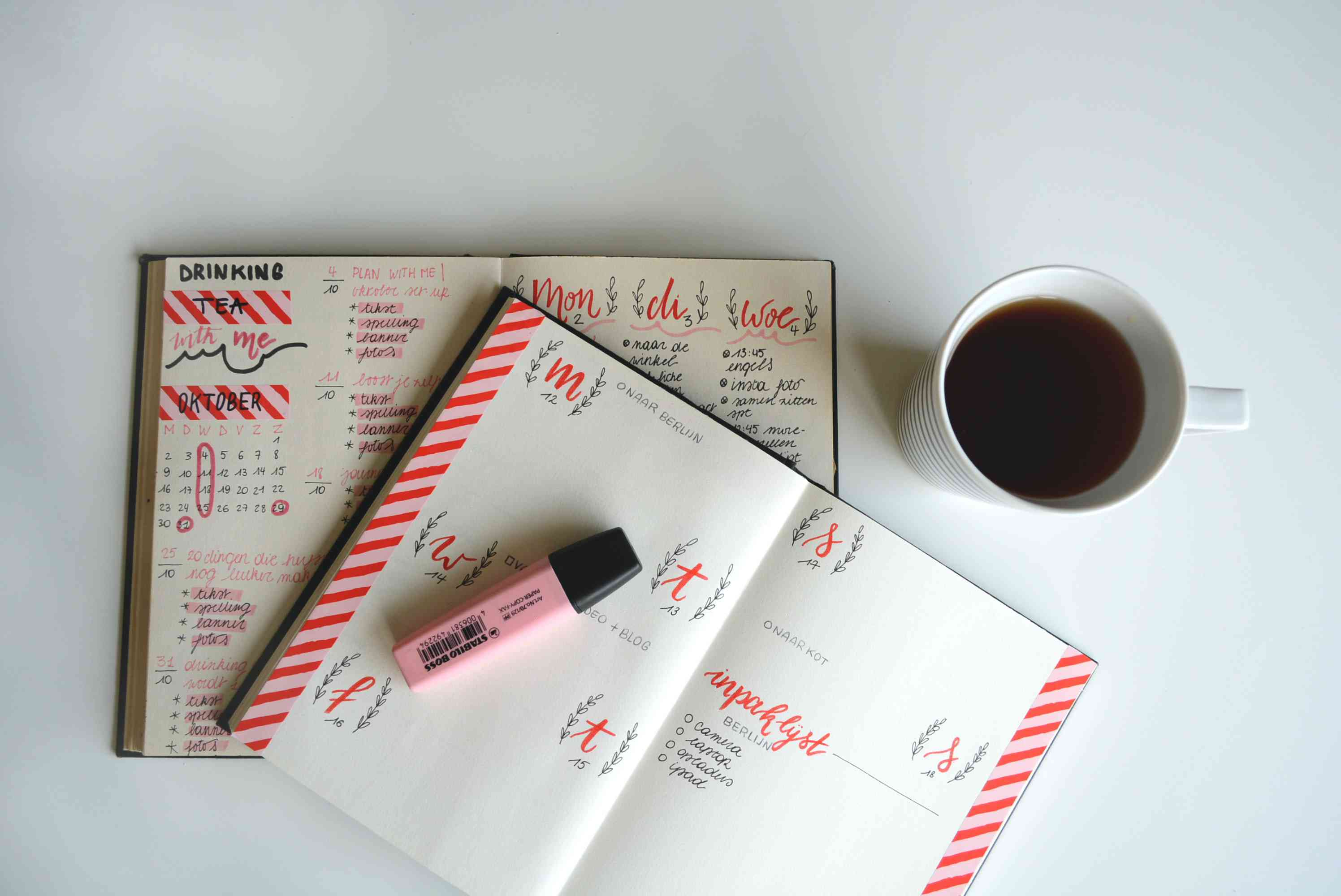 planner, highlighter, and coffee