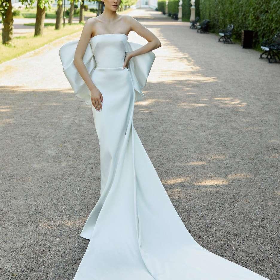 Rasario Bridal Train-Detailed Satin Corset Gown