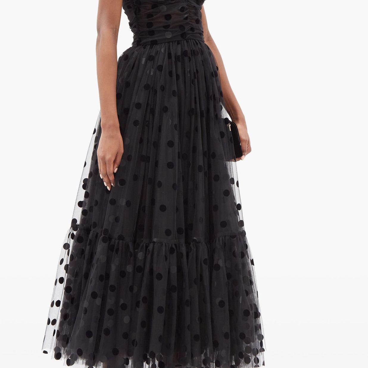 Polka-dot-flocked tulle gown