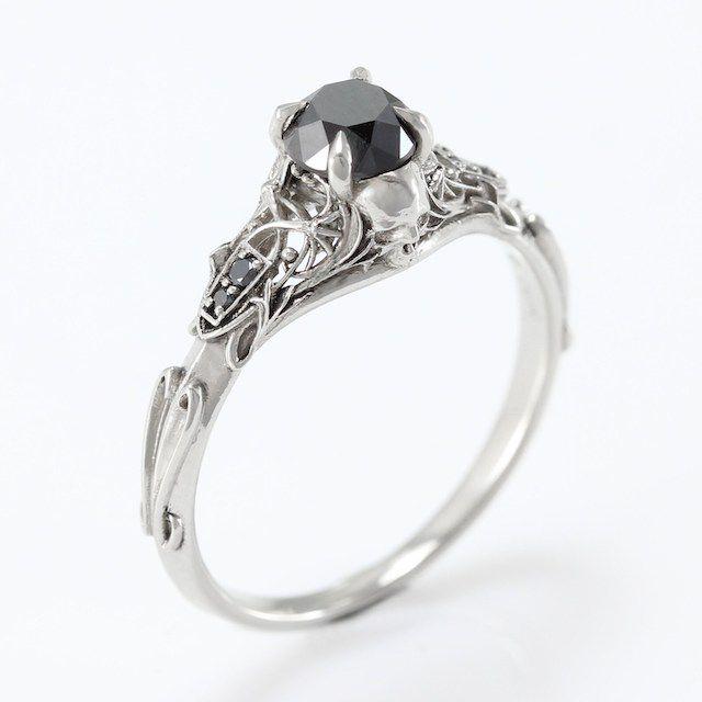 Metal Wendler Art Nouveau Black Diamond Skull Engagement Ring