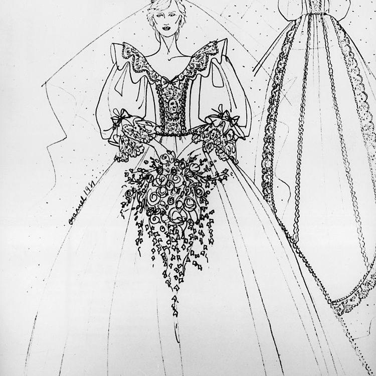 princess diana wedding dress sketch