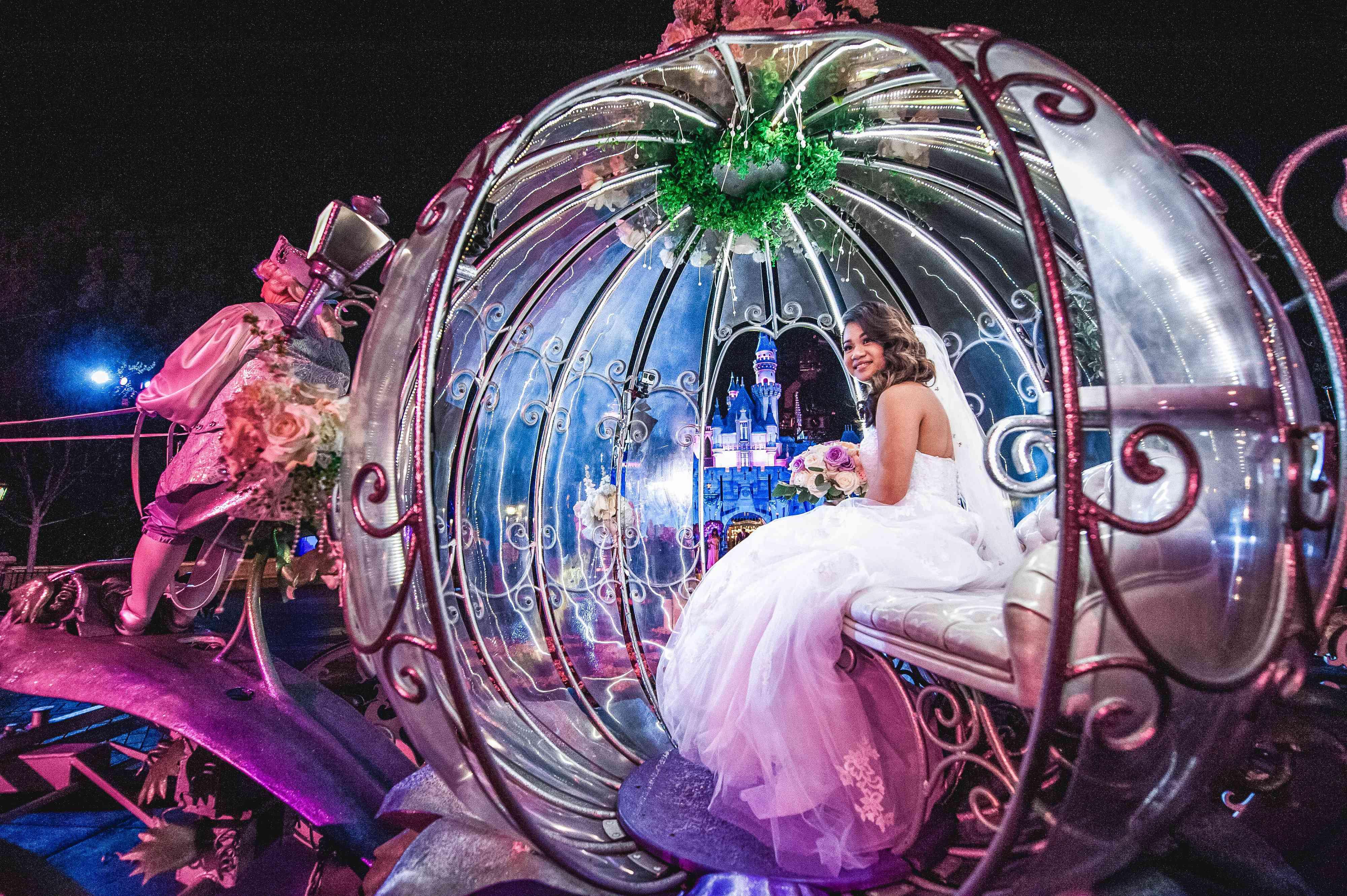 A bride in Cinderella's coach.