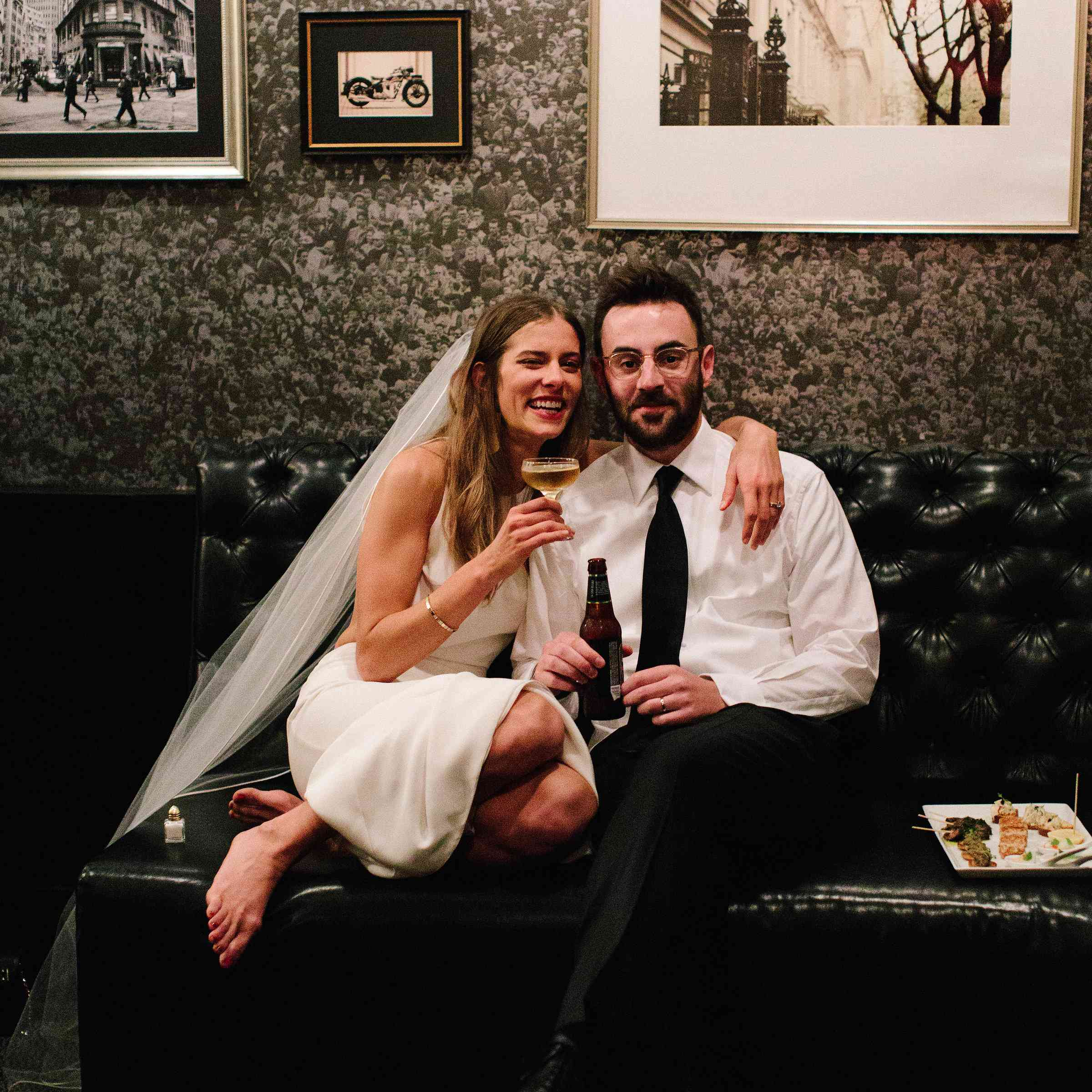 Bride and Groom with drinks