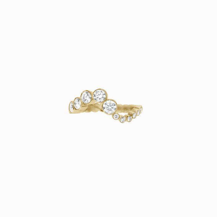 Sophie Bille Brahe Yellow Gold Wavy Ocean Ring With Graduating Diamonds