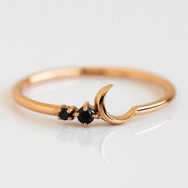 La Kaiser 14K Rose Gold Black Diamond Fly Me to the Moon Ring
