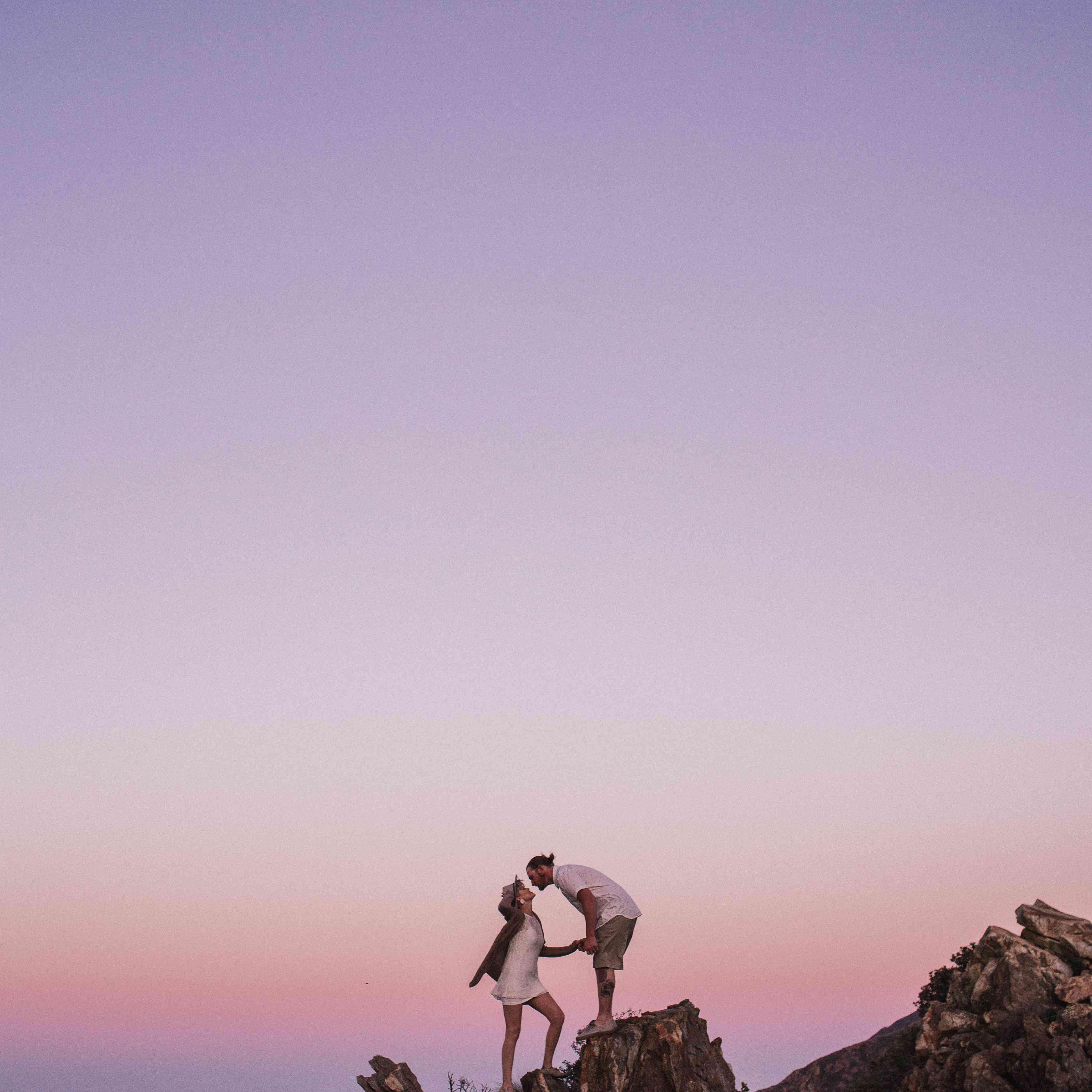 Couple at sunset in desert