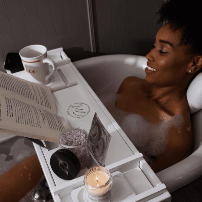 Macklin Bath and Home Bamboo Tray and Bath Pillow Combo