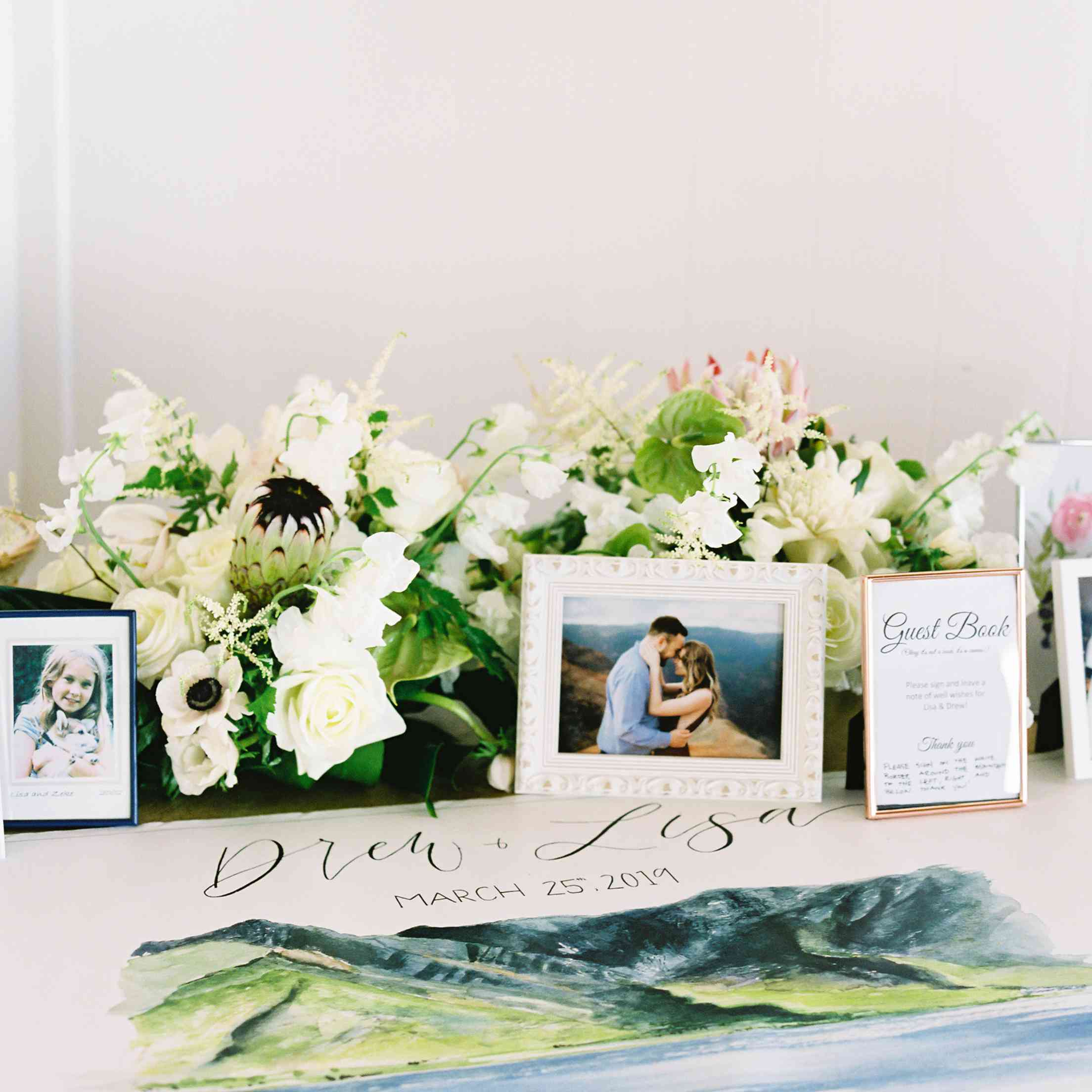 tropical maui wedding, painted guest book